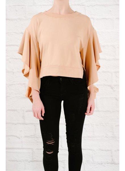 Sweatshirt Ruffle sleeve sweatshirt
