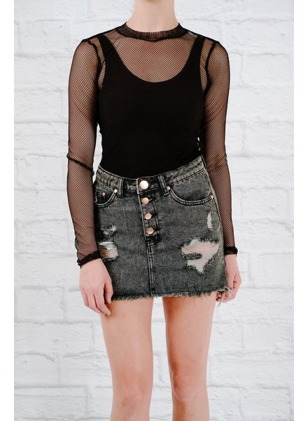 Skirt Black destroyed high-low denim skirt