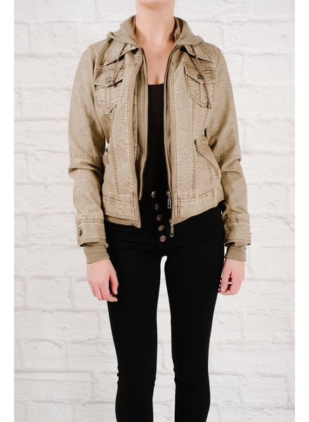 Leather Taupe faux leather hoodie jacket