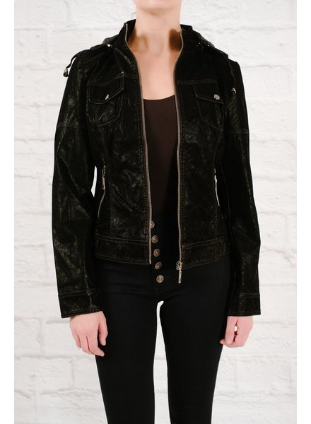 Leather Hooded suede jacket