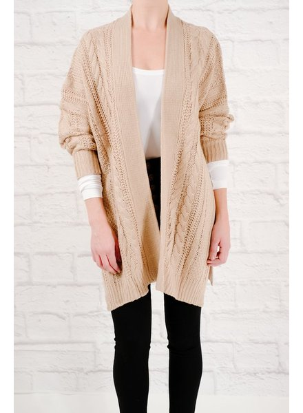 Cardigan Cable knit open cardigan