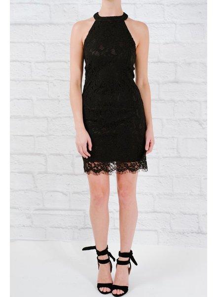 Mini Black lace halter dress