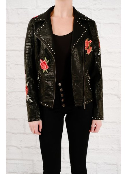 Leather Rose embroided leather jacket