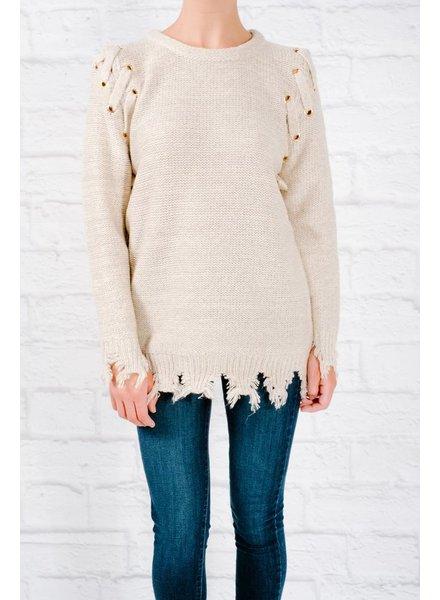 Sweater Fray hem rivet sweater