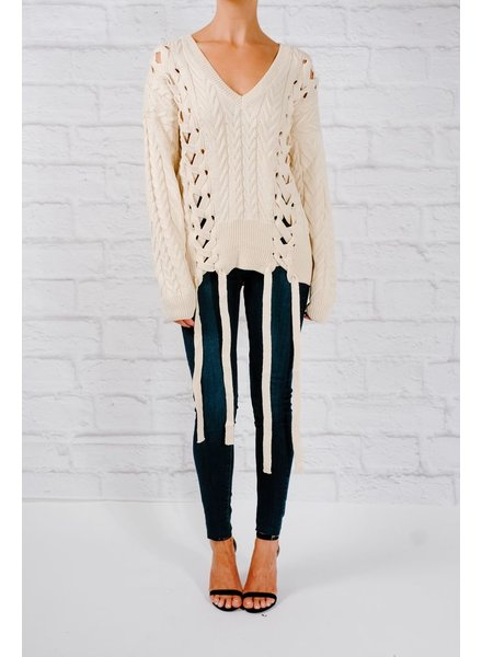 Sweater Ribbon laced cable knit