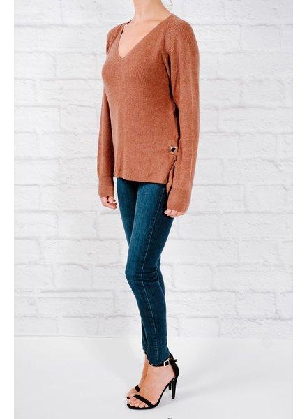 Sweater Burgandy side slit and rivet sweater