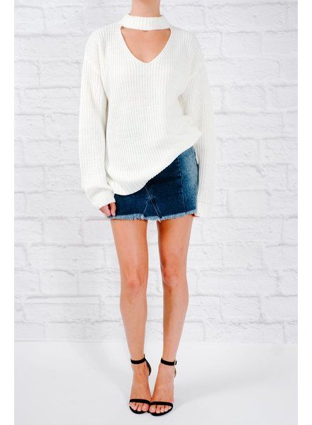 Sweater Off white choker cutout sweater