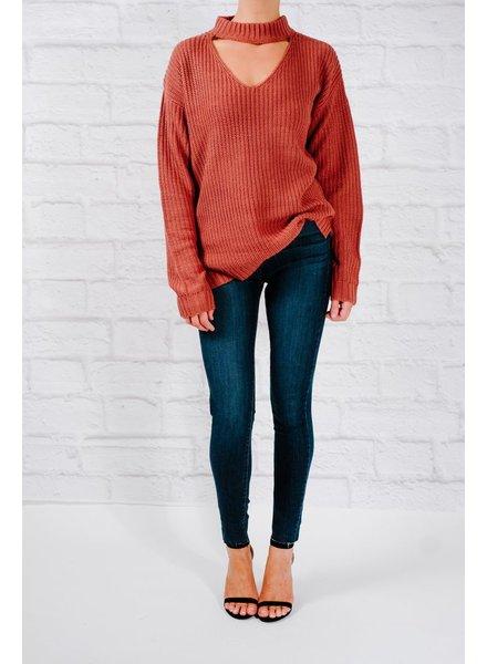 Sweater Raspberry choker cutout sweater