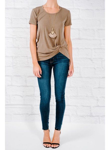T-shirt Olive side knot tee