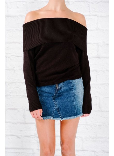Sweater Black foldover classic knit