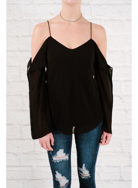 Blouse Chiffon sleeve detail black blouse