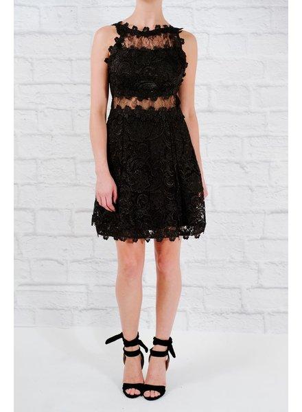 Lace Lace panel flare dress