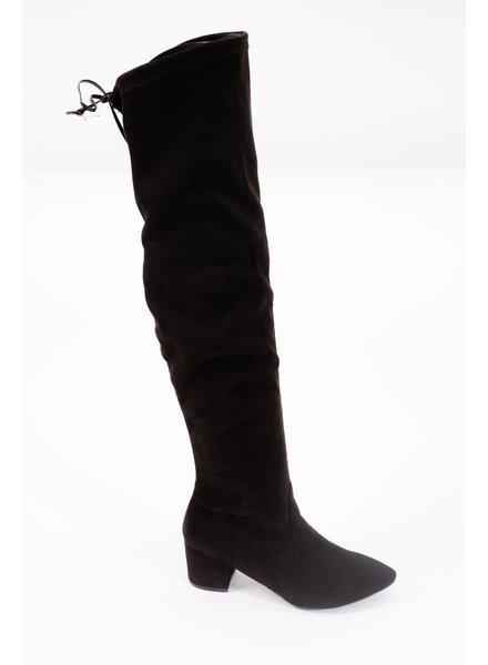 Boot Black OTK stalked heel boot