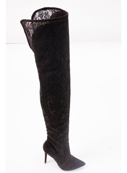 Boot Black lace OTK boot