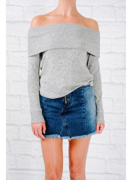 Sweater Heathered grey foldover sweater