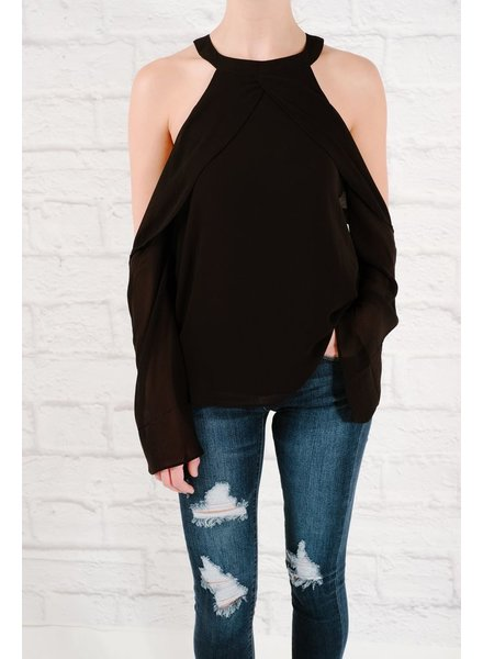 Blouse Twisted cold shoulder blouse