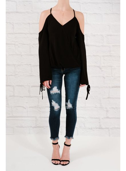 Blouse Black wrap cross back blouse