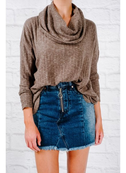 Sweater Olive cowl neck thin knit sweater
