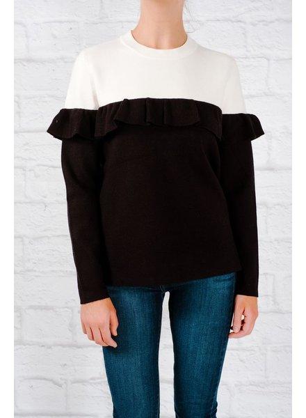 Sweater Horizontal ruffle detail sweater