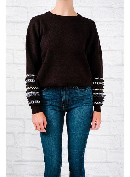 Fringe & thread sleeve detail sweater