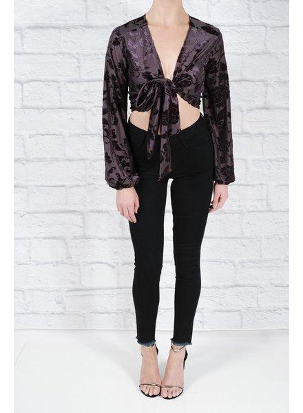 Blouse Navy velvet floral blouse
