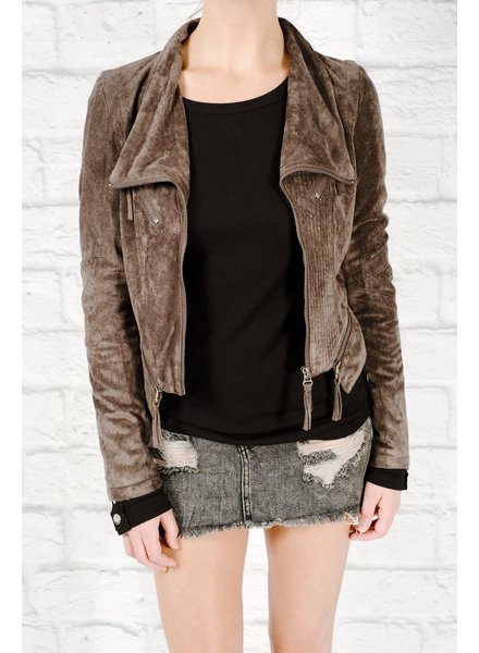 Leather Charcoal suede moto jacket