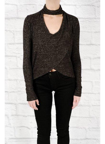 Blouse Black wrap choker knit