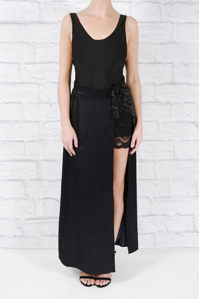 Skirt Satin wrap maxi skirt with lace mini