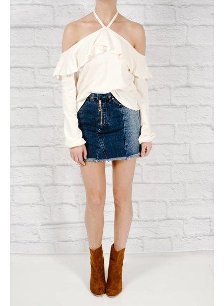 Blouse Ivory ruffle top t-shirt