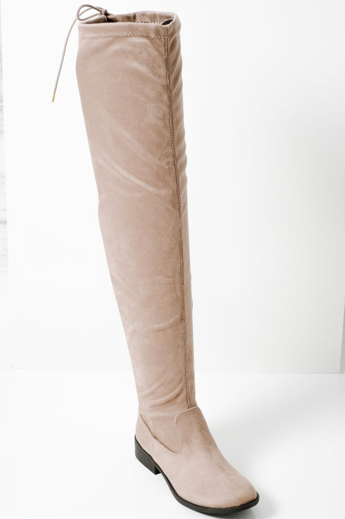 Boot Taupe OTK back laced boot