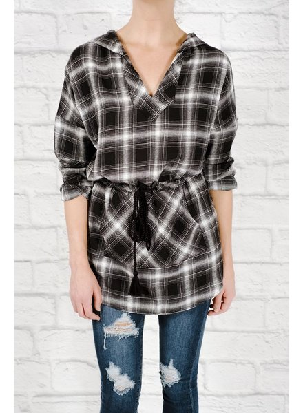 Casual Flannel hooded tunic