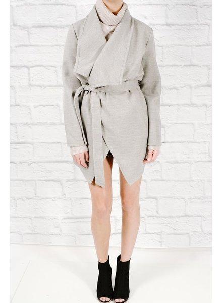 Midi Grey lapel wrap coat