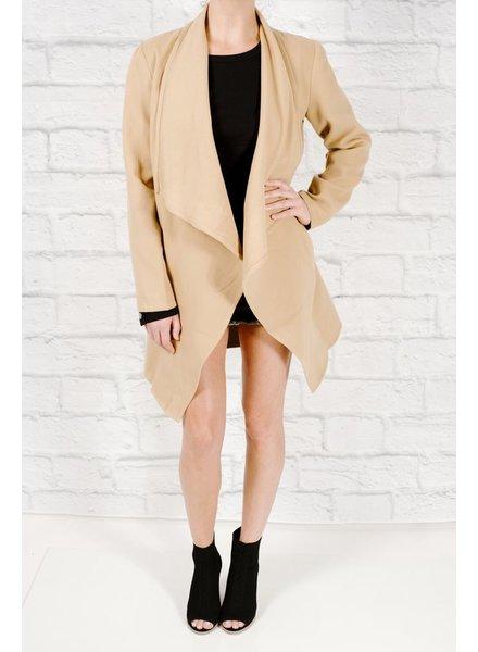 Midi Beige lapel wrap coat