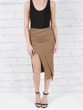Skirt Asymmetric cut cotton midi skirt