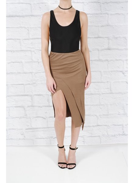 Skirt Asymmetric cut cotton midi skirt