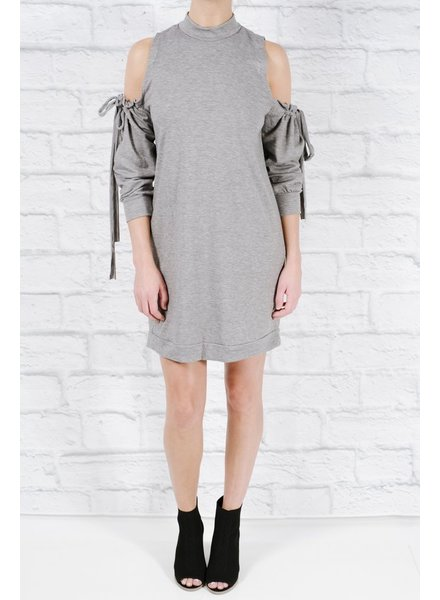 Casual Drawstring cold shoulder dress