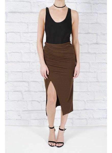 Skirt Olive faux wrap midi skirt