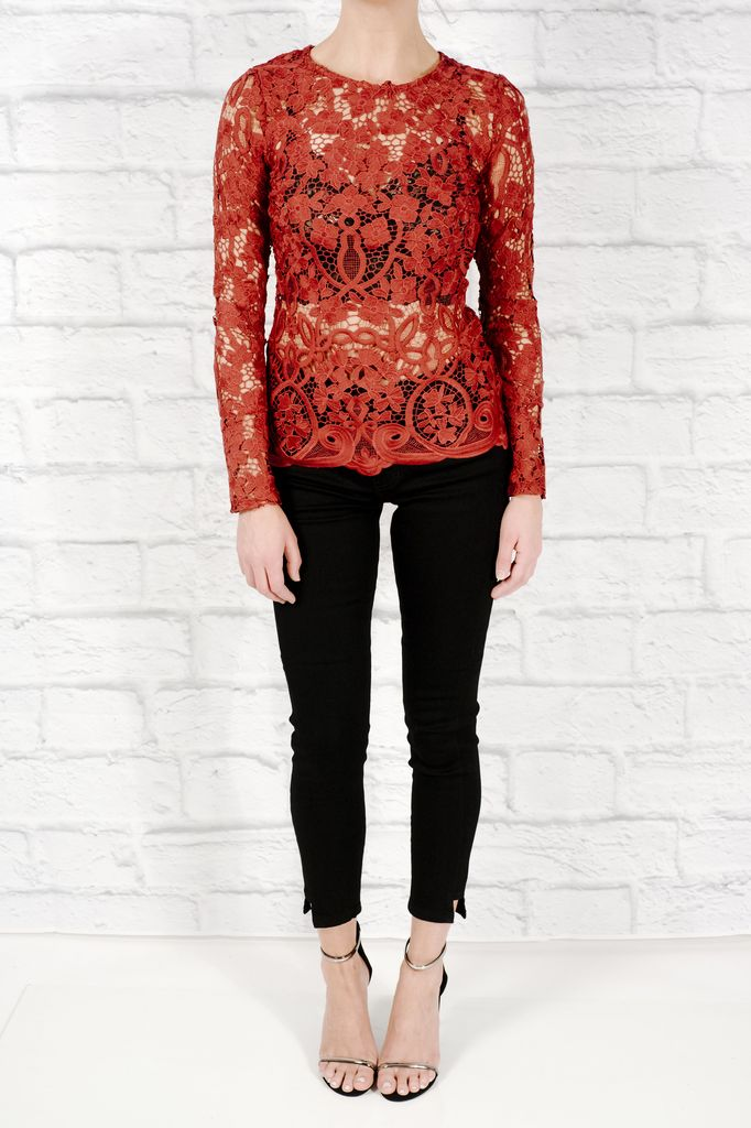 Blouse Burgundy open back lace top