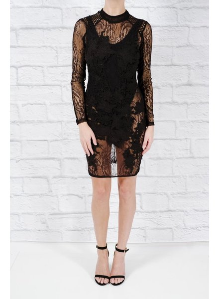 Midi Sheer black and lace LBD