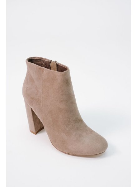 Bootie Taupe thick heel ankle bootie