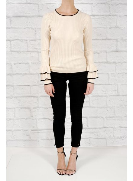 Sweater Ribbed bell sleeve knit