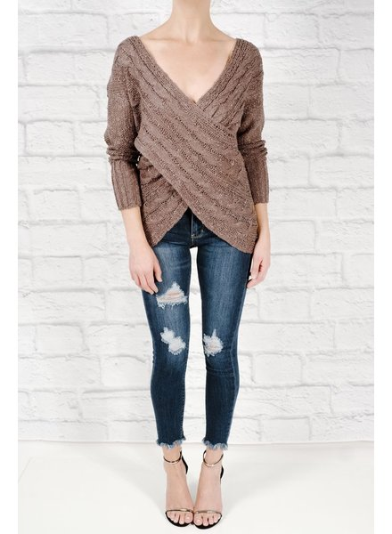 Sweater Charcoal cable wrap sweater