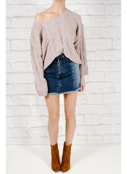 Sweater Taupe cable knit crop