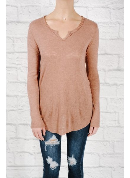 T-shirt Burnt umber cut neck t