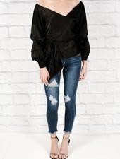 Blouse Black satin wrap blouse