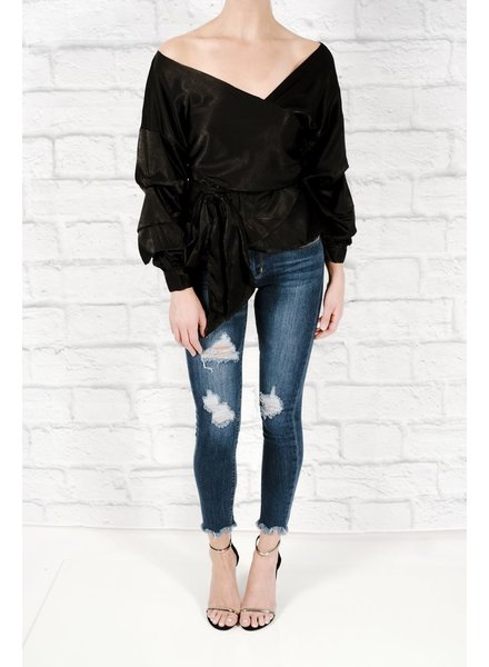 Blouse Black satin wrap blouse