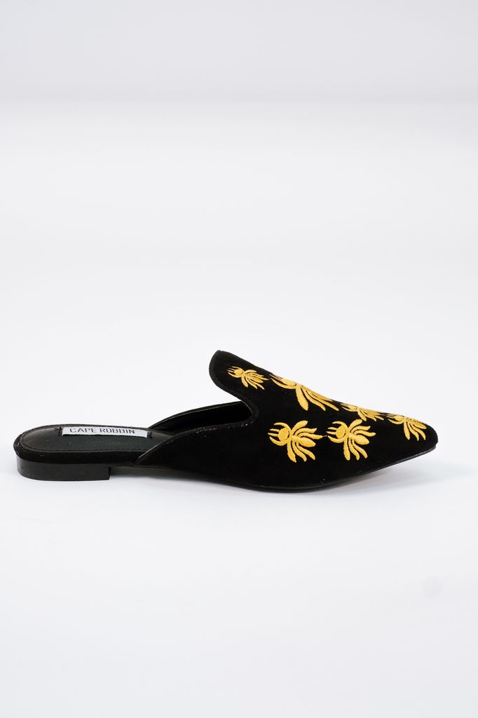 Flat Embroidered backless bee loafer
