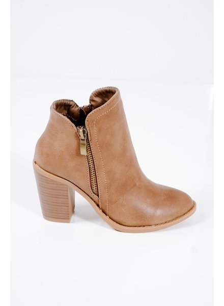 Bootie Taupe stacked heel classic bootie