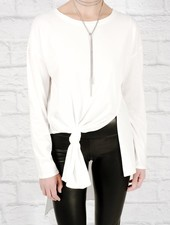 T-shirt Asymmetric front knot white tee