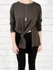 T-shirt Asymmetric front knot tee